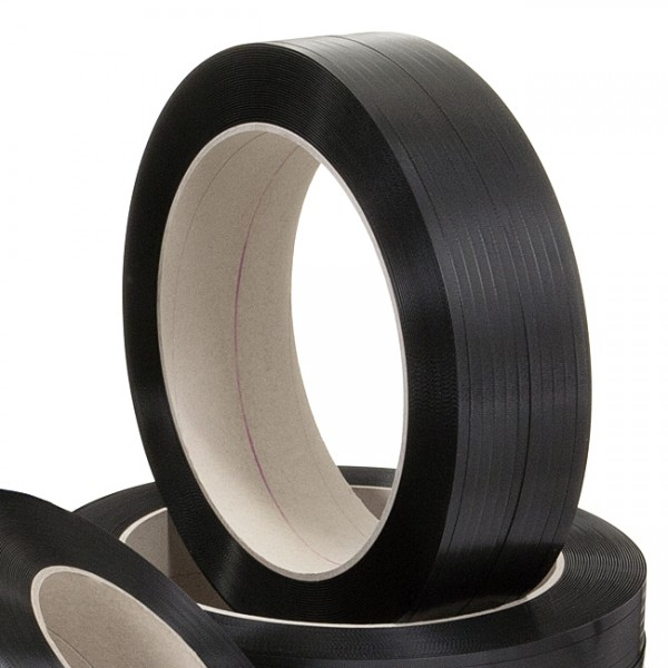 PP-Omsnøringsbånd, stor rulle, 12,7 x 0,70 mm, 2000 m, sort