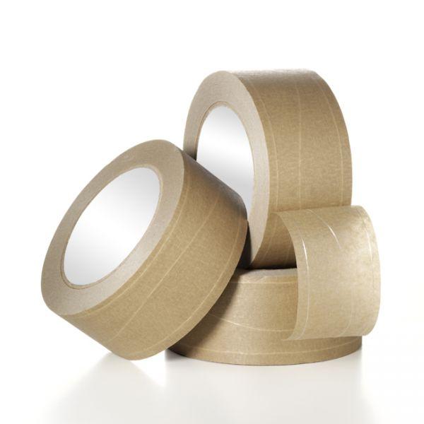 Papirtape, trådforstærket, 50 mm x 50 m, brun, 2 langstråde/ 1 sinustråd, solventlim